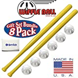Wiffle Ball 6 Baseballs Official Size - 6 Pack and Wiffle Ball 32' Bats 2 Pack, Gift Set Bundle + Bonus NOIS Tissue Pack