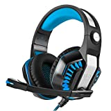 YUNQE Gaming Headset for Xbox One PS4 PC,GM-2 3.5 mm Gaming Headset Over-Ear Headphone Earphone Headband with Microphone LED Light for New Xbox One Playstation 4 PS4 Laptop Tablet (Blue)