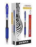 Zebra Pen 46820 Zebra Sarasa Retractable Gel Ink Pens, Medium Point 0.7mm, Blue, Rapid Dry Ink, 12-Count