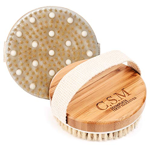 C.S.M. Body Brush for Wet or Dry Brushing - Gentle Exfoliating for Softer, Glowing Skin - Get Rid of Your Cellulite and Dry Skin, Improve Your Circulation - Gentle Massage Nodes 8