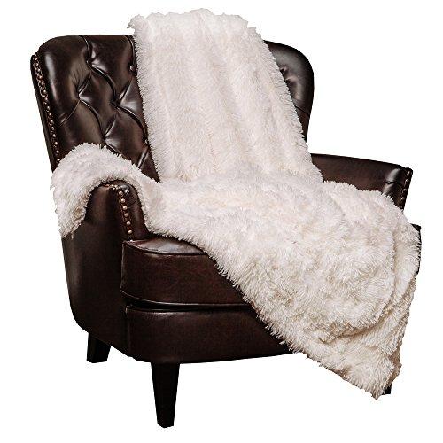 Chanasya Super Soft Shaggy Longfur Throw Blanket   Snuggly Fuzzy Faux Fur Lightweight Warm Elegant Cozy Plush Sherpa Fleece Microfiber Blanket   for Couch Bed Chair Photo Props - 50'x 65' - White