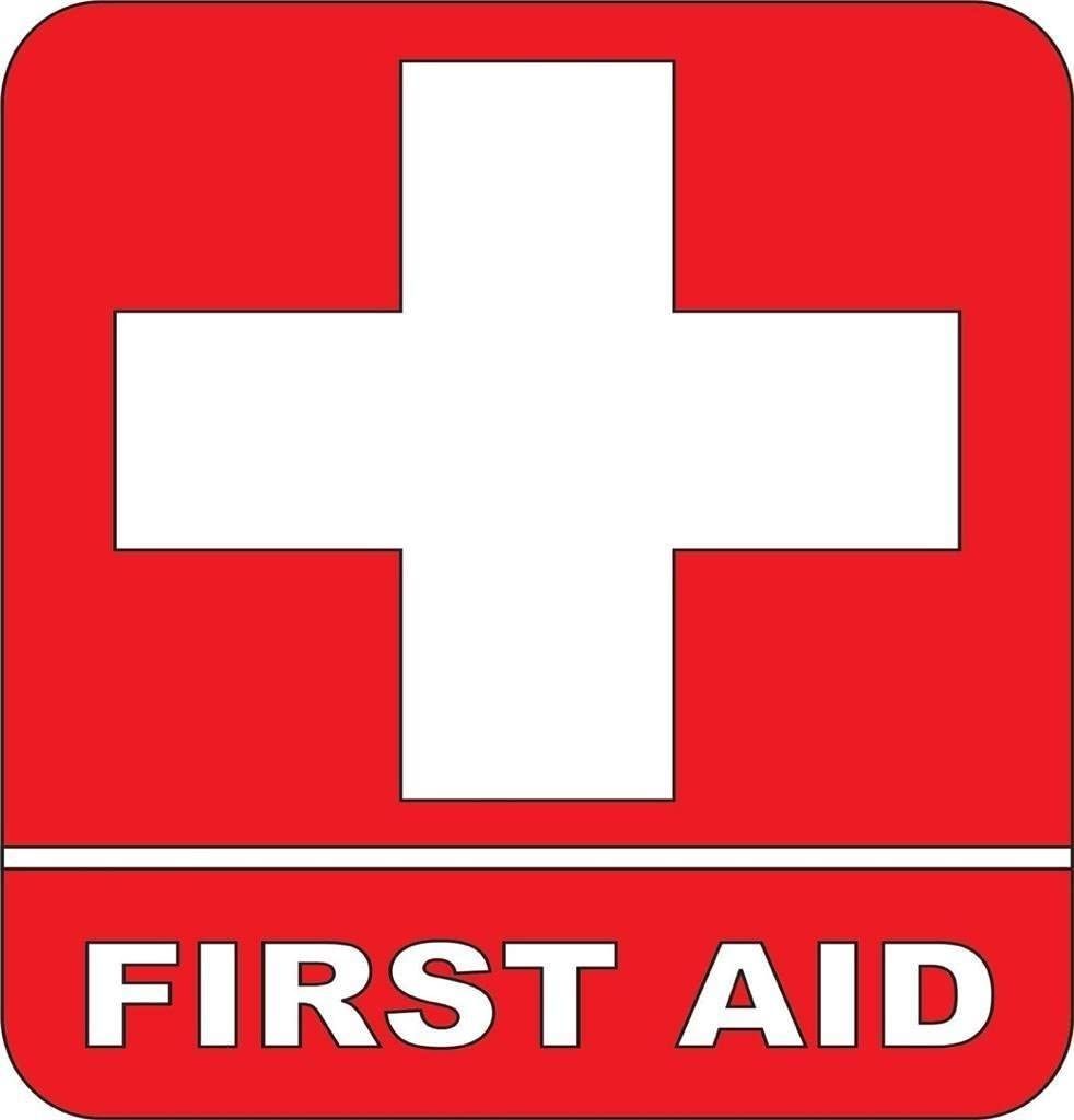 Amazon Com First Aid Kit Emergency Symbol Logo Sticker Picture Art Peel Stick Sticker Vinyl Wall Decal 24 Colors Available 9x9 Kitchen Dining