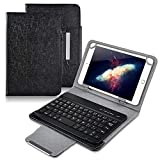 Universal 8 inch Tablet Keyboard Case, 【DETUOSI】 Wireless Bluetooth Removable Keyboard + Folio PU Leather Cover + Stand, Travel Portable Leather Sleeve for iOS/Android/Windows 8.0'' Tablet,(Black)
