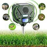 Ultrasonic Animal Repeller & Solar Pest Repellent – 30ft Motion Sensor w/ Flashing LED Light – Waterproof – Effective & Humane Outdoor Deterrent for Raccoon, Rabbit, Bird, Deer, Cat, Dog, Squirrel