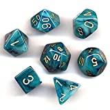 Chessex Polyhedral 7-Die Phantom Dice Set - Teal with Gold CHX-27489