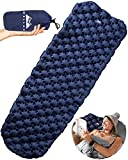 WELLAX Ultralight Air Sleeping Pad - Inflatable Camping Mat for Backpacking, Traveling and Hiking Air Cell Design for Better Stability & Support -Plus Repair Kit (Blue)