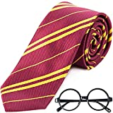 Striped Tie with Novelty Glasses Frame for Cosplay Party Costume Necktie Accessories for Halloween Christmas Party and Daily Use - Red