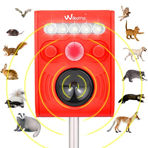 Wikomo Ultrasonic Pest Repeller, Outdoor Animal Repeller Solar Powered Waterproof with Ultrasonic Sound, Motion Sensor and Flashing Light for Cats, Dogs, Squirrels, Moles, Rats New Version