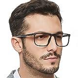 OCCI CHIARI Men Non Prescription Eyeglasses TR90 Frame with Clear Lense Eyewear (Black)