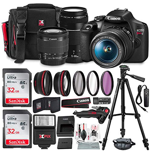 Canon T7 EOS Rebel DSLR Camera with 18-55mm and 75-300mm Lenses Kit + UV Filter Set + Tripods + Flash & 32GB Dual SD Card Accessory Bundle