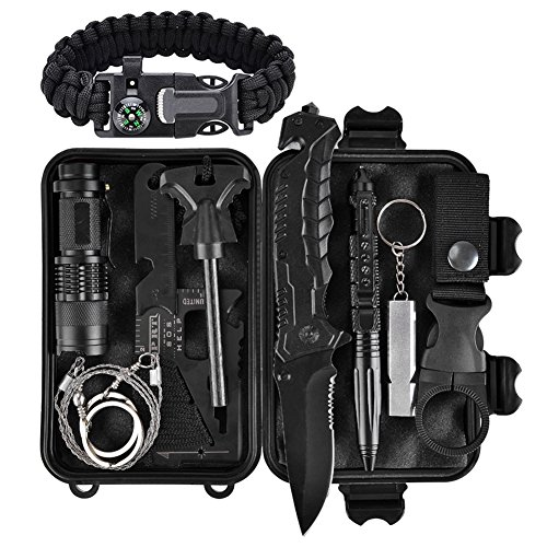 XUANLAN Emergency Survival Kit 13 in 1, Outdoor Survival Gear Tool with Survival Bracelet, Fire Starter, Whistle, Wood Cutter, Water Bottle Clip, Tactical Pen for Camping, Hiking, Climbing