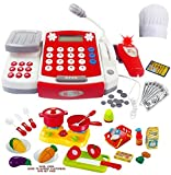 FUNERICA Toy Cash Register with Scanner - Microphone - Calculator - Play Pots and Pans - Cutting Play Food & Chef Hat   Play Restaurant/Grocery/Supermarket Cashier Toy