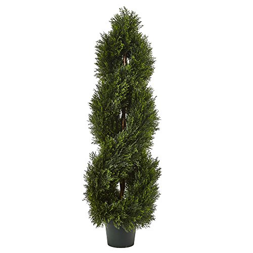Nearly Natural 5482 Double Pond Cypress 4'H Spiral Topiary UV Resistant with 1036 Leaves (Indoor/Outdoor)