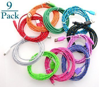 Josi Minea 9 Pcs Fabric Braided Nylon Premium High Quality Ruggedized Micro USB Rainbow Cables 3 Feet / 1 Meter Charger Sync Data Rapid Charging Cable USB Cord Wire for Samsung Galaxy S4 / S3 / S2, Samsung Galaxy Note / Note 2, Galaxy Tab, Google Nexus 7 / 10, Nokia Lumia, and Most Android Tablets / Android Phones / Windows Phones (9 Pack)