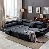 Sofa Sectional Sofa Living Room Furniture Corner Sofa Set Futon Sofa Bed Sleeper Sofa Couch Sofa Faux Leather Queen 2 Piece Modern Contemporary