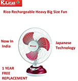 Rico Rechargeable battery table fan 12 inches Japanese Technology swing for bedroom study big size for home office with oscillating high speed rechargeable table fan with battery for home office
