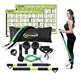 Gymwell Portable Resistance Workout Set, Total Body Workout Equipment for Home, Office or Outdoor with 3 Sets of Resistance Bands (Green - Full Gym)