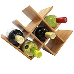 Diamond Shaped Bamboo Countertop Wine Rack, 8 Bottles