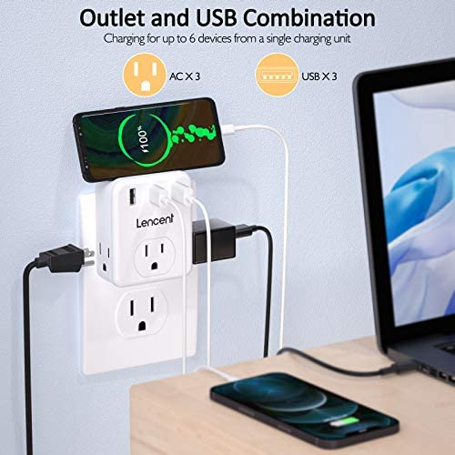 Multi Plug Outlet Extender, LENCENT 3 Outlets Splitter with 3 USB Ports, Wall Charger, 3 Prong Plug, Power Charging Box Expander for Home, Office, Hotel, Dorm, Cruise Ship Approved- White 13