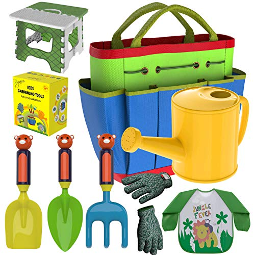 Kids Gardening Tools Outdoor Toys Set - Garden Gloves - Smock Apron - Foldable Work Bench Stool - Backyard Outside Toys Metal Shovel Rake Trowel - Plastic Handle- Watering Can Jug- Carrying Tote Bag