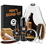 MayBeau Beard Grooming Kit for Men 10 in 1 - Best Beard Kit for Men Includes Straight Razor, Leather Strop, Beard Apron Bib, Shaping Tool, Brush, Oil, Comb, Balm, Wash, Scissors for Beard Care