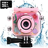 denicer Waterproof Children's Camera with 2.0 Inch LCD Display 12MP HD Kids Underwater Camera Camcorder with 32G SD Card for 4-12 Girls Festive/Birthday Gift-Pink