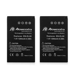 Powerextra-EN-EL20a-2X-Battery-Car-Charger-Compatible-with-Nikon-Coolpix-P950-P1000-DL24-500-Nikon1-J1-J2-J3-Nikon1-S1-Nikon1-V3-Nikon-Coolpix-A-Nikon1-AW1-Blackmagic-Pocket-Cinema