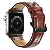 Compatible Apple Watch Band 44mm/42mm Series 3, MAPUCE Classic Style Genuine Leather Bands with Stainless Metal Buckle Replacement Strap Compatible iWatch Series 4 &3&2&1with Black Adapter, Dark Brown