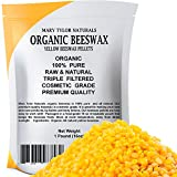 Yellow Beeswax Pellets 1 lb by Mary Tylor Naturals, Premium Quality, Cosmetic Grade, Triple Filtered Bees Wax Pellets, Great for DIY Lip Balm Recipes Body Creams Lotions Deodorants