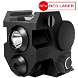 Laspur USA Mini Tactical Sub Compact Rail Mount Laser Sight with High Lumen CREE LED Flashlight Light Integrated Combo with Strobe for Pistol Rifle Handgun Gun, (RED)