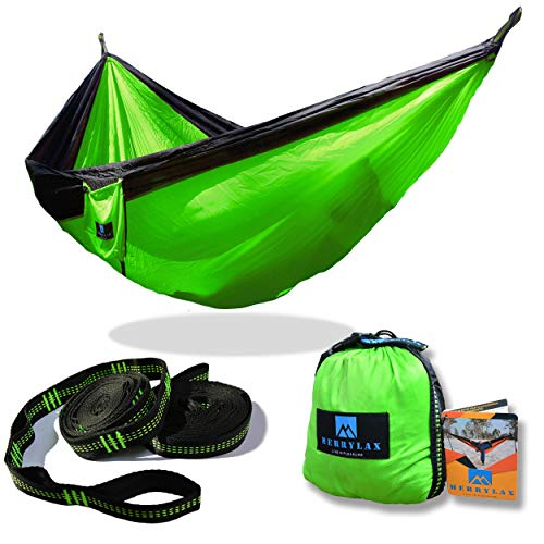 Double Camping Hammock With Tree Straps – Parachute Nylon RipStop Portable Lightweight Fabric Hammock for Backpacking Camping Travel Beach Yard – 600lbs for 2 Person – Free Aluminium Carabiners