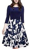 HOMEYEE Women's 1950s Vintage Elegant Cap Sleeve Swing Party Dress A009 (S, Dark Blue + 3/4 Sleeve)
