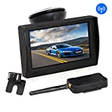 AUTO-VOX W1 Wireless Backup Camera Kit 4.3' LCD Monitor+ IP 68 Waterproof Rear View License Plate Reverse Back up Car Camera with LED Super Night Vision for Cars,Truck,Van,Caravan,Trailers,Camper