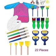 Miminuo enfants de peinture, 22pcs enfants Peinture éponge Lot de pinceaux de pour Early Learning Art Craft DIY, tablier avec palette et outils de peinture