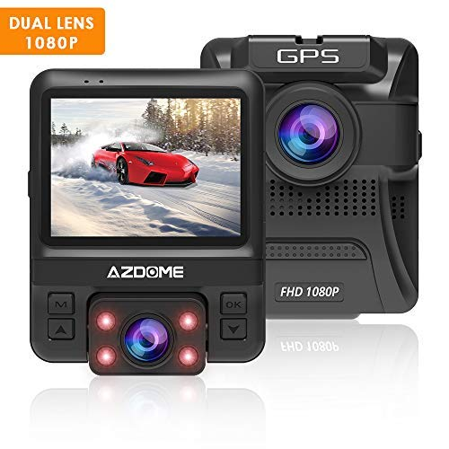 AZDOME 1080P Dash Cam with 2.4' 6-Lane Dual Lens 170¡ã Wide-Angle Lens, Dashboard Camera Recorder with G-Sensor, Loop Recording, Night Vision, Parking Guard for Uber LYFT(with GPS)