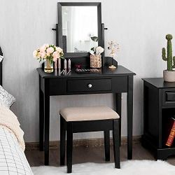 CHARMAID Vanity Set with Large 360° Swivel Mirror and Cushioned Stool, Dressing Table with Large Drawer, Makeup Table Writing Desk with Removable Top, Makeup Vanity Set for Girls Women, Black