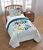 Harry Potter Wizardry 5 Piece Full Bed Set - Includes Reversible Comforter & Sheet Set - Bedding Features Hogwarts Logo - Super Soft Fade Resistant Polyester - (Official Warner Brothers Product)