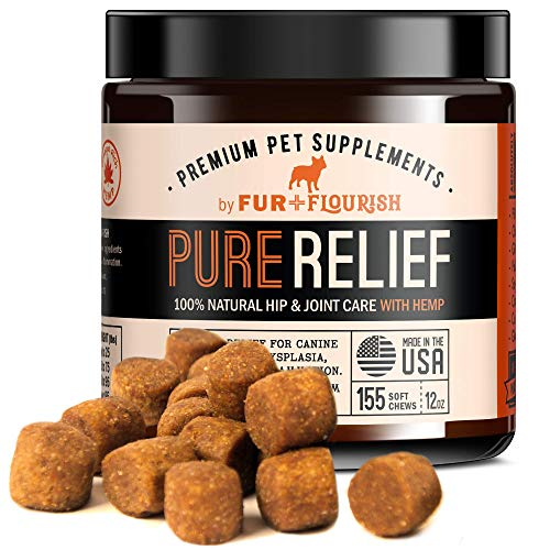 FUR-FLOURISH-PureRelief-Premium-Dog-Hip-and-Joint-Supplement-Value-Pack-155-Soft-Chew-Treats-Natural-Glucosamine-Chondroitin-MSM-Hemp-Oil-and-Turmeric