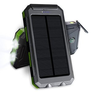 JETSUN Solar Charger, 10000mAh External Portable Dual USB Solar Charger Power Pack with Flashlight & Compass for Outdoor Travel