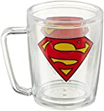 Spoontiques Superman Logo Acrylic Coffee Cup, Clear