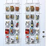 2 Pack - SimpleHouseware Crystal Clear Over The Door Hanging Pantry Organizer (52' x 18')
