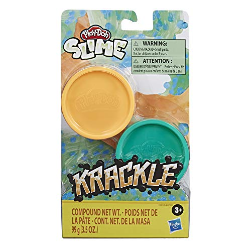 Play-Doh Krackle Slime Orange & Green 2 Pack of Slime Compound with Beads for Kids 3 Years & Up