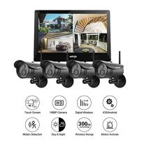 Wireless-WiFi-Security-Camera-System-UNIOJO-4Pcs-1080P-HD-20-Megapixel-Night-Vision-IP66-Waterproof-IP-Security-Surveillance-Cameras-with-101inches-LCD-Touch-Screen-Monitor