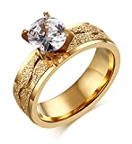 Womens Stainless Steel Cubic Zirconia Solitaire Ring for Engagement Wedding Band Promise,Gold Plated,Size 7
