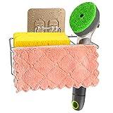 3-in-1 Adhesive Kitchen Sponge Holder, Dish Brush Holder and Dish Cloth Holder, Stainless Steel Kitchen Sink Organization Basket, Kitchen In Sink Caddy, Drainer Rack Sponge Holder