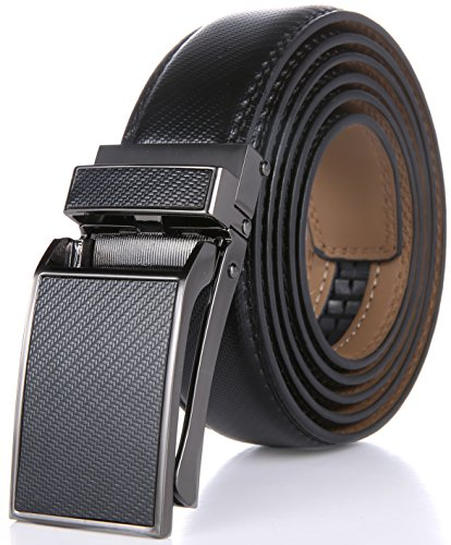 Marino Avenue Men's Genuine Leather Ratchet Dress Belt with Linxx Buckle - Gift Box (Pattern Design - Black, Adjustable from 38' to 54' Waist)