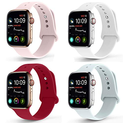NUKELOLO Sport Band Compatible with Apple Watch 42MM 44MM, Soft Silicone Replacement Strap Compatible for Apple Watch Series 4/3/2/1 [M/L Size in Pink Sand/White/Rose Red/Turquoiser]
