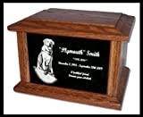 Pet Cremation Memorial Urn by Eric @ StoneArtUSA / Custom Personalized Engraved Granite Oak Wood Photo Marker Dog Cat Pet Ashes -- Large for Pets up to 130 Lbs.