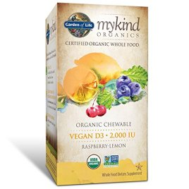 Garden of Life Vitamin D3 – mykind Vegan Organic D Vitamin Whole Food Supplement for Immune and Bone Health, 2000 IU, Raspberry Lemon, 30 Chewable Tablets