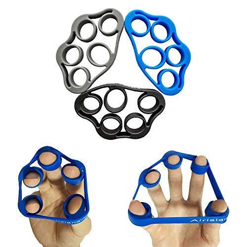 Airisland Finger Stretcher Hand Resistance Bands Hand Extensor Exerciser Finger Grip Strengthener Strength Trainer Gripper set for Arthritis Carpal Tunnel Exercise Guitar and Rock Climbing 3pcs
